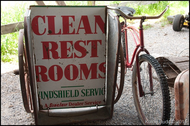 Cool sign with old bicycle in the barn
