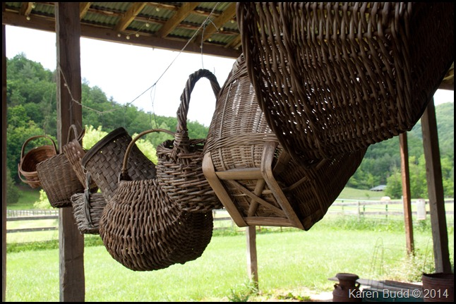 Baskets strung up for the Barn Sale